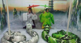 Legenda Siluman Ular Putih dan Hijau Hadir di Pagoda Stadion Kridasana Singkawang