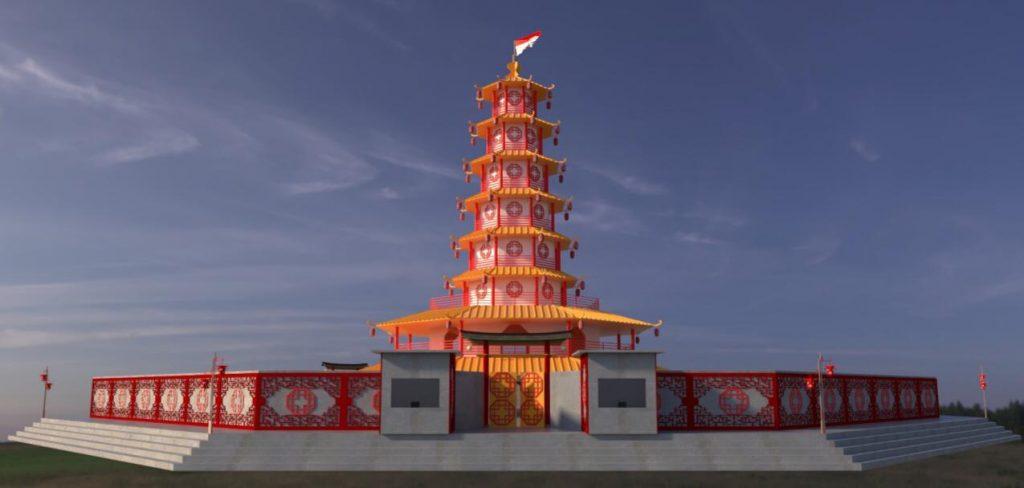 Illustrasi Replika Pagoda Perayaan Imlek dan Cap Go Meh Singkawang 2020