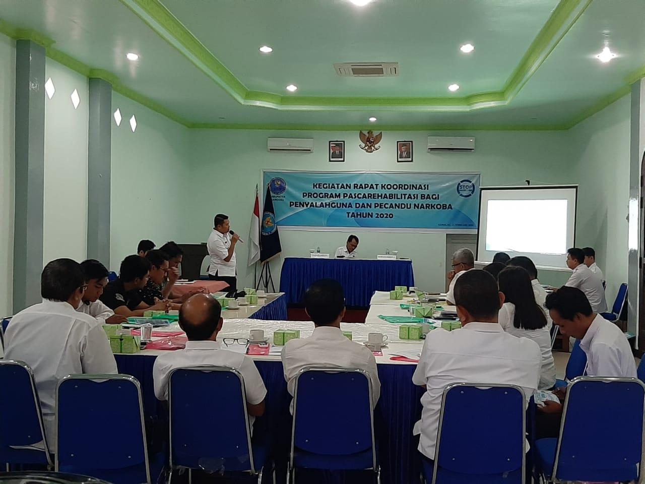 Foto--Suasana Rakor Lintas Sektoral BNNK Sanggau, menyamakan persepsi penyusunan program pasca rehabilitasi, Rabu (12/2/2020) di Hotel Meldy Sanggau---istimewa